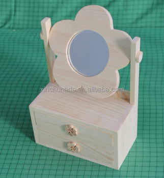 Unfinished Small Wooden Jewelry Box With Mirror And Drawer Buy