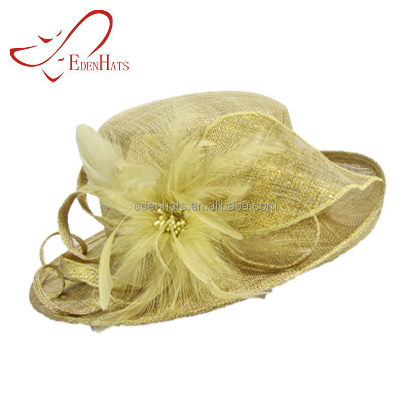 Alibaba China Ladies Evening Dress Hat Floral Ladies Church Hat With Elegant Feather