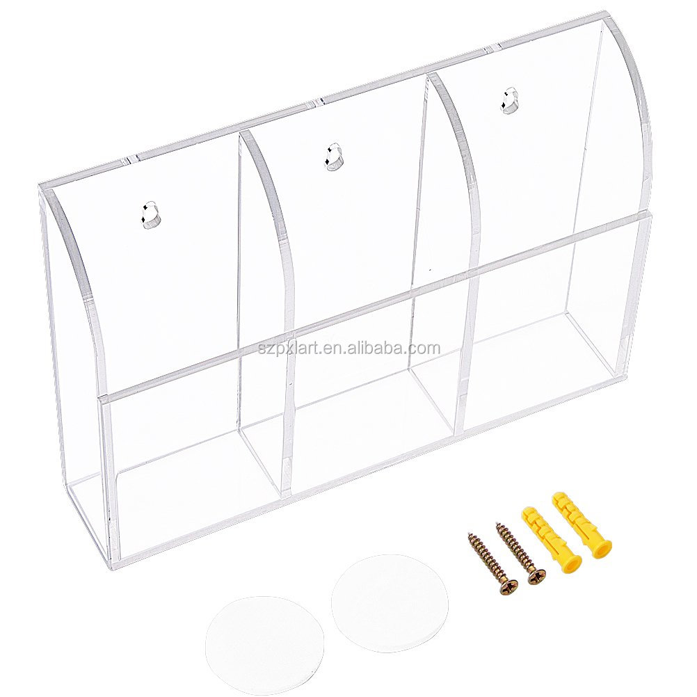 Clear high-end Acrylic Remote Control Holder Wall Mount Media Organizer Storage Box (Three Compartments) made in China