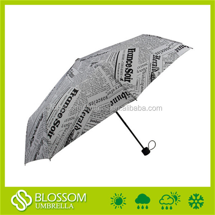 Top quality plastic frame 21inches 3 folding manual newspaper umbrella