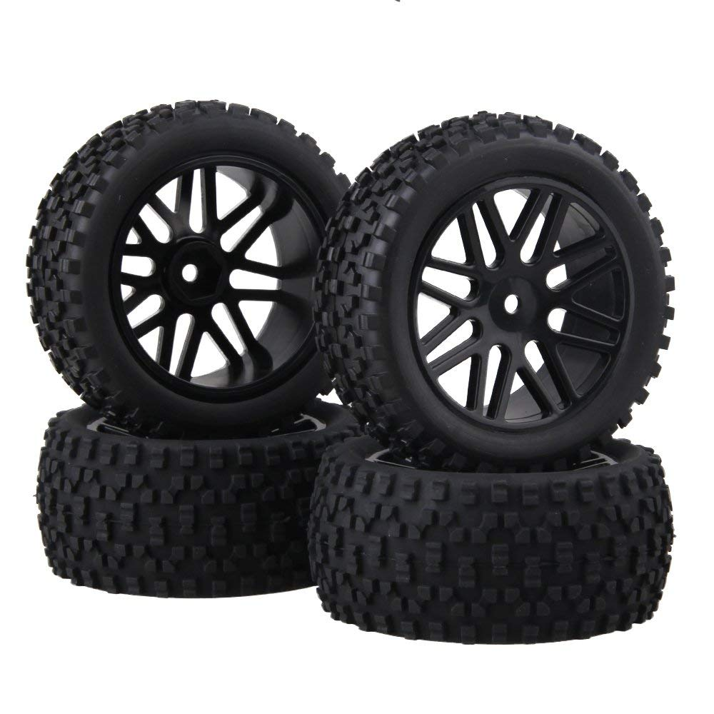 BQLZR Front and Rear Mesh Shape Wheel Rim Rubber Tires for RC 1:10 Off-Road Car Pack of 4