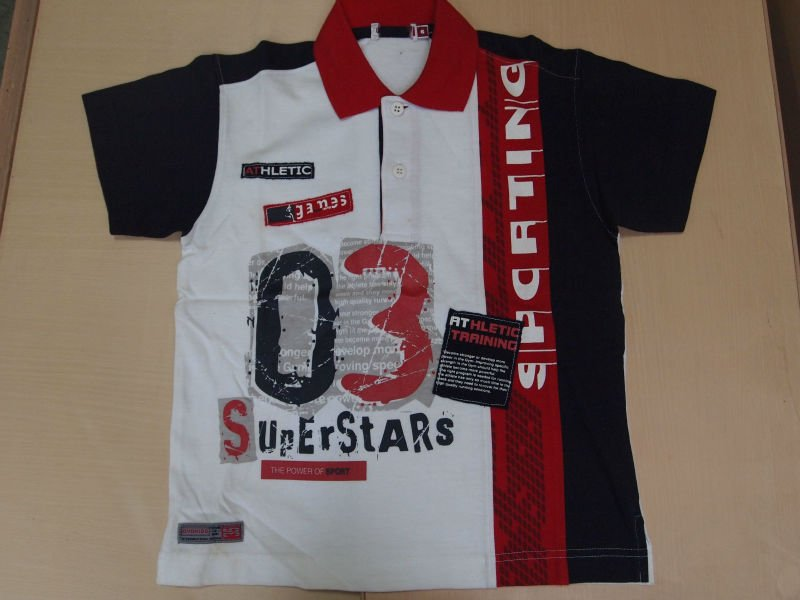 boy's combed polo shirt with print and applique