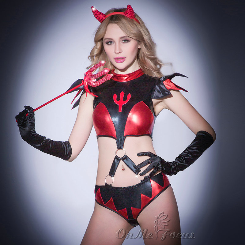 Best Sale 2 Piece Red Sexy Leather Lingerie Succubus Knight Costume