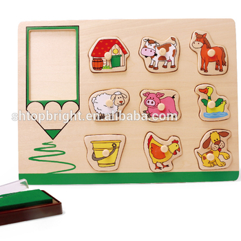 2015 new products cool En71 and ASTM test stamp seal and ink kids toy wooden wood knob Chunky Puzzle Suppliers