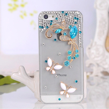 Diamond Bling Butterfly Case for iPhone 5, For Apple iPhone 5 Diamond Hard Crystal Clear PC Case