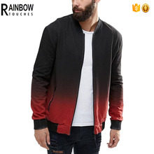 custom factory price 100% cotton dip dye printing bomber jacket for men