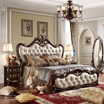 Solid Wood Bedroom Furniture Luxury European King Size Bed
