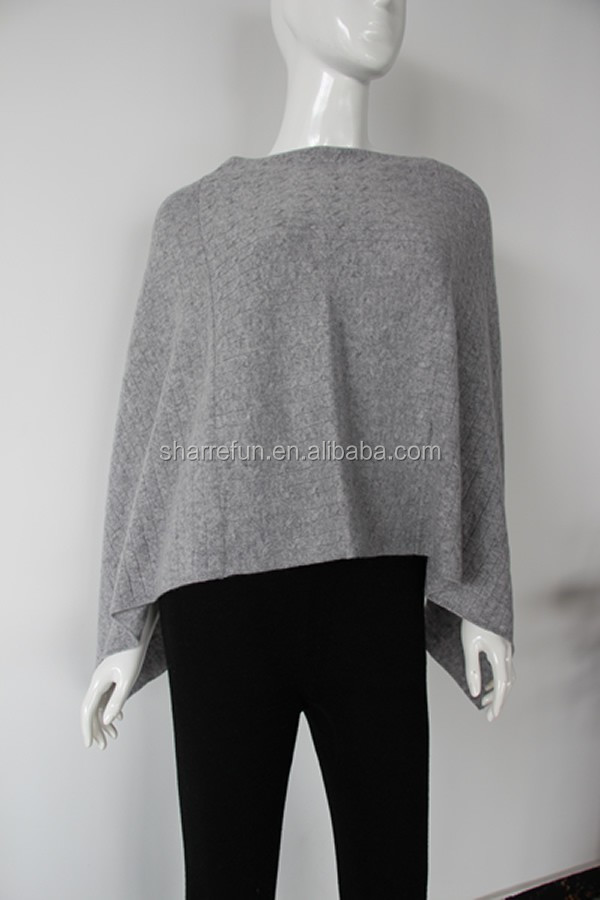 100%cashmere knitted poncho wholesale