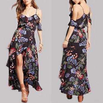 2017 Y Mexican Cold Shoulder Allover Fl Print Self Tie Maxi Dress