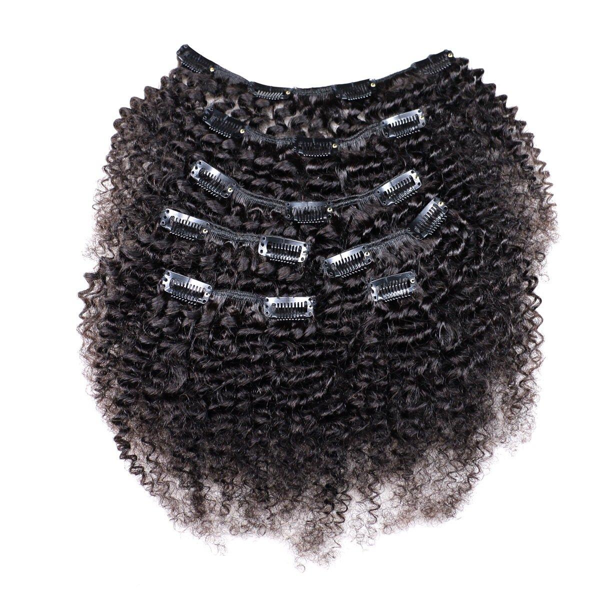 KeLang Hair African American Afro Kinky Curly Clip In Human Hair Extensions Brazilian Virgin Hair Natural Color 4B 4C Afro Kinky Curly Clip Ins For Black Women 12inch 7pcs/lot,120gram/set