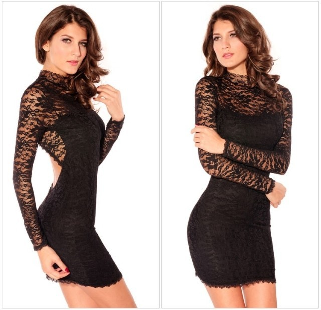 2014 Women High Neck Black Long Sleeve Elastic Lace Net Sleeve