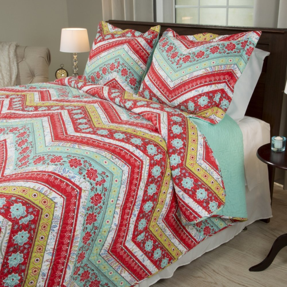 2 Piece Girl Rainbow Floral Chevron Theme Quilt Twin Set, Pretty Girly Vibrant Flower Zigzag Bedding, Beautiful Horizontal Zig Zag Flowers Themed Pattern, Red Pink Light Teal Blue Green White