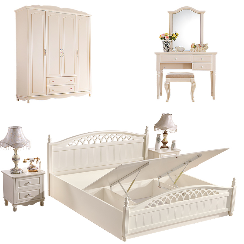 White Latest Wooden Double Bed Designs Furniture with Hydraulic Lift <strong>up</strong> Storage <strong>Box</strong>