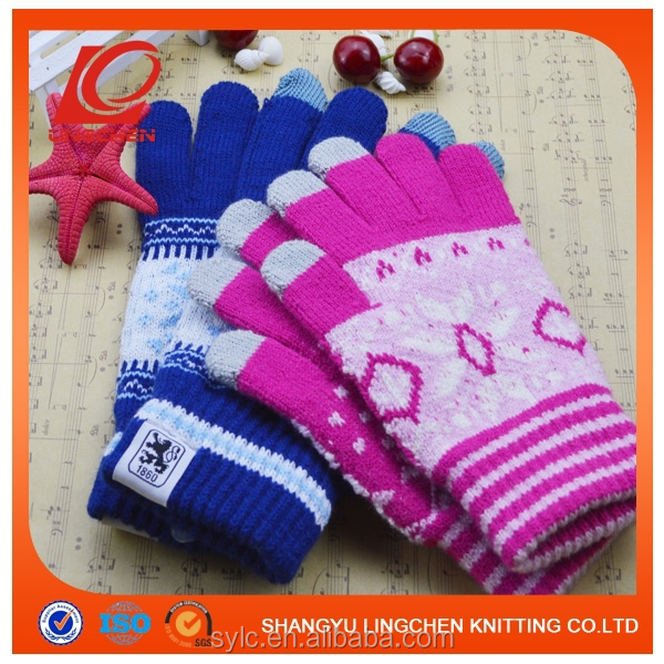 Supply Youch 2015 Imprint Logo Magic Unisex Winter Knit Stretch Touch Screen Gloves