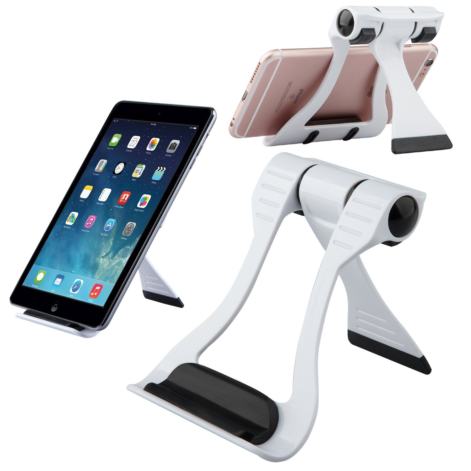 Buyus iPhone 7 / 7 Plus Stand for Desk, fits Apple iPhone 6 / 6S, Plus, 5 / 5S / 5C / SE, 4 / 4S, iPod, iPad, Samsung Galaxy J2, S7, S6, Edge, S5, S4, S3, Note 5, 4, 3, LG G5, G4, G3 & More (Black)
