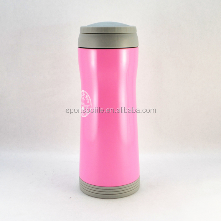 2017 750ml Food Grade Plastic Outer and Stainless Steel Inner Slim Waist Thermos Bottle