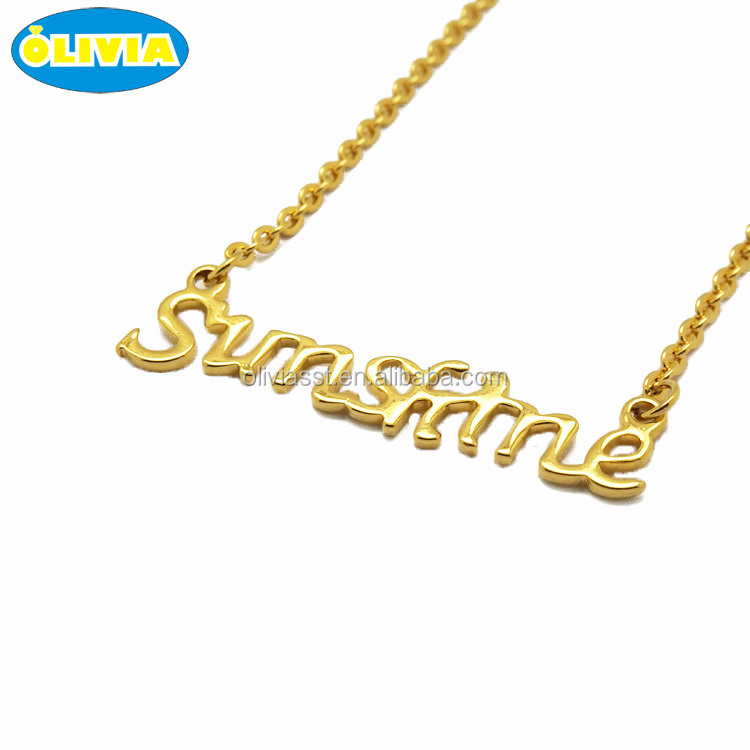 custom jewellery 18k gold plated stainless steel fashion personalized name necklace women statement necklace
