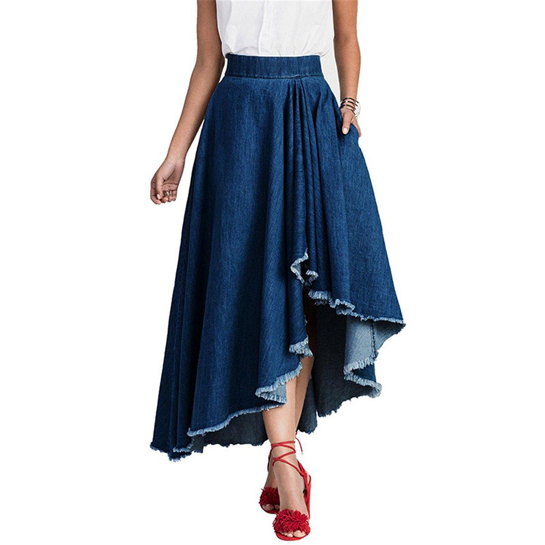 338a73113 Get Quotations · BRLLY Vintage Irregular Denim Skirt for Women High Waist  Washing Skirt Blue Elastic Casual Asymmetrical Cowboy