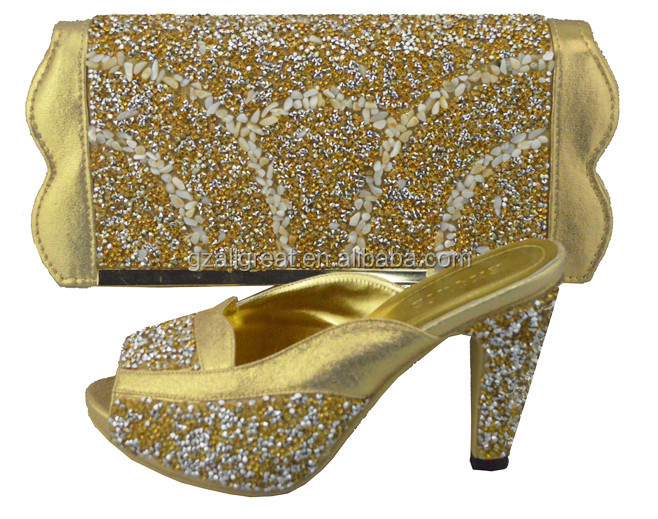 Women high heel shoes with bags/Gold shoes with matching bags