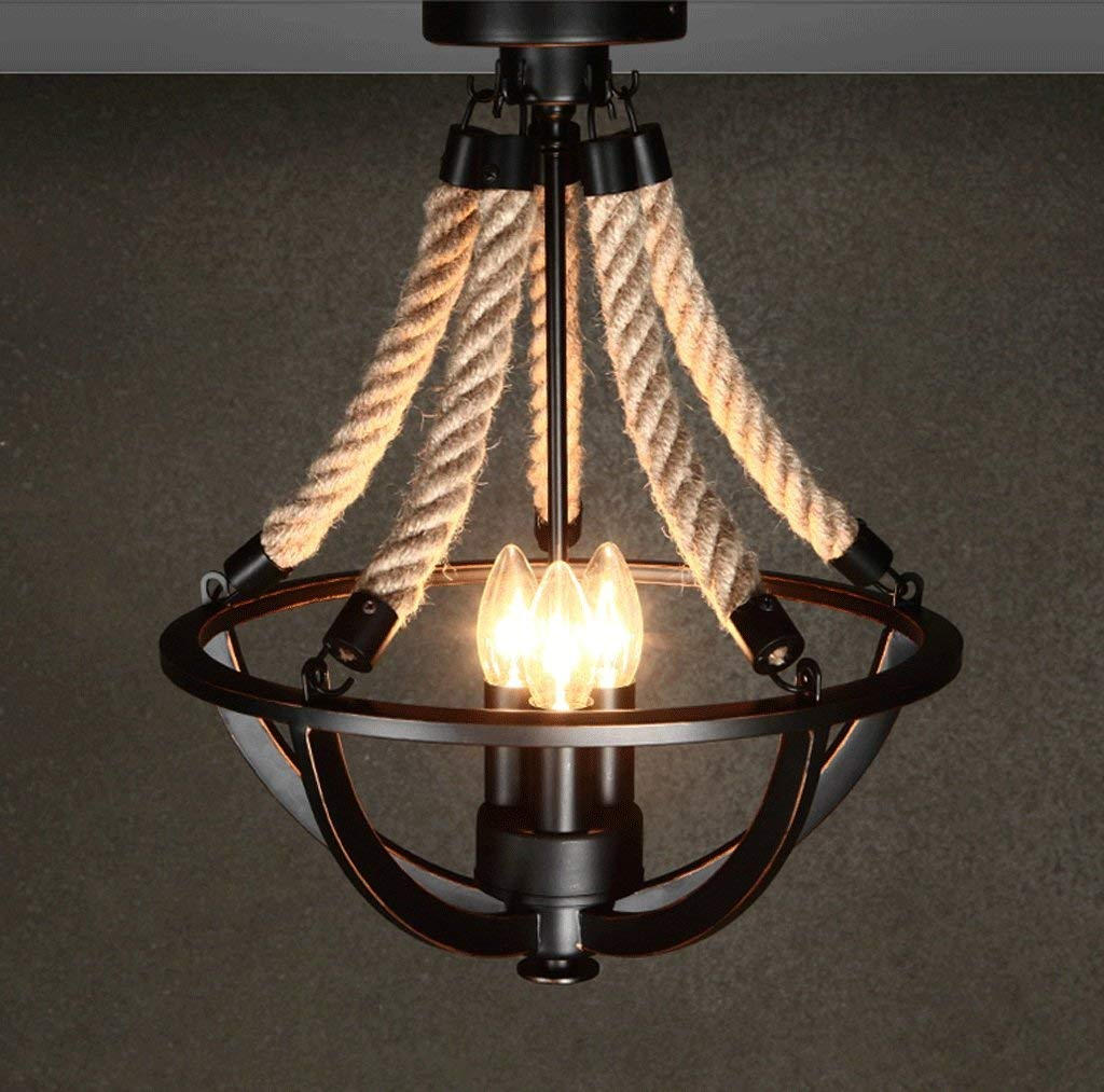 JCRNJSB Ceiling, Hemp Rope Lamp American Rural Pastoral Ceiling Simple Retro Iron Living room Creative Personality Art Bedroom Lighting LED dimmable Environmental protection