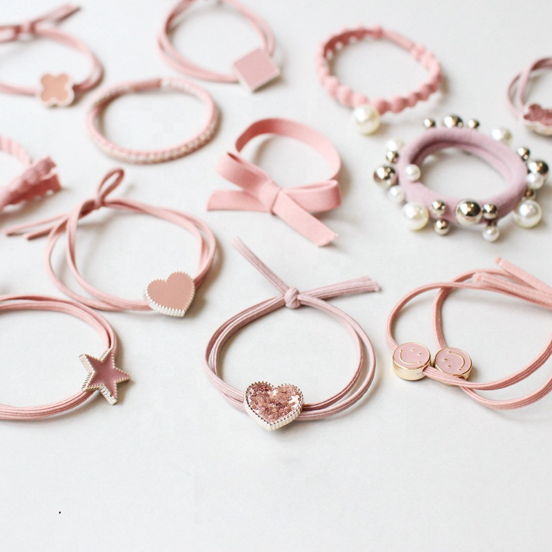 Simple  pink elastic hair bands  for girls hair accessories ponytail holder for girls children