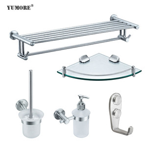 Factory hot sale 304 stainless steel zinc alloy wall mounted bathroom accessories 5 pcs set