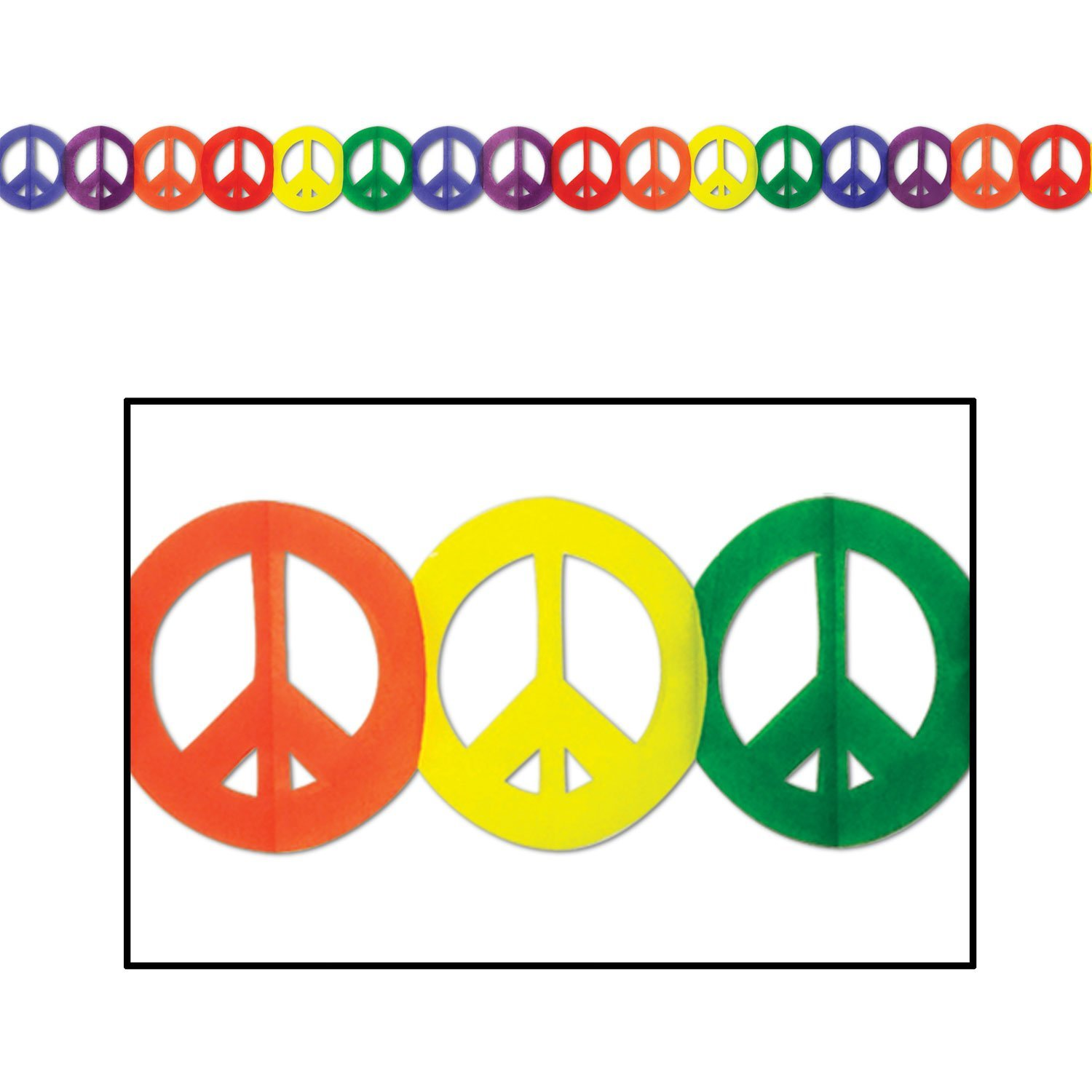 Beistle 57669 1-Pack Peace Sign Garland, 5-3/4-Inch by 12-Feet