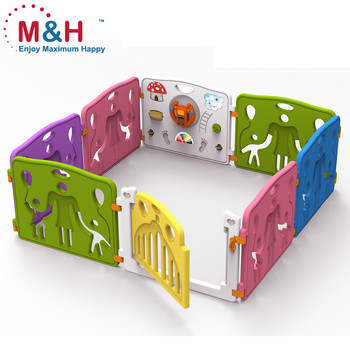 8 Panels Plastic Safety Game Baby Fence Indoor Playground Baby