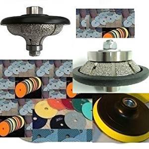 "F20 (3/4"") Ogee-bullnose E10 (3/8"") Bevel / 45 Degree Bullnose Diamond Brazed Router Bits 4"" Diamond Polishing Pad Granite Concrete Marble Travertine stone care"