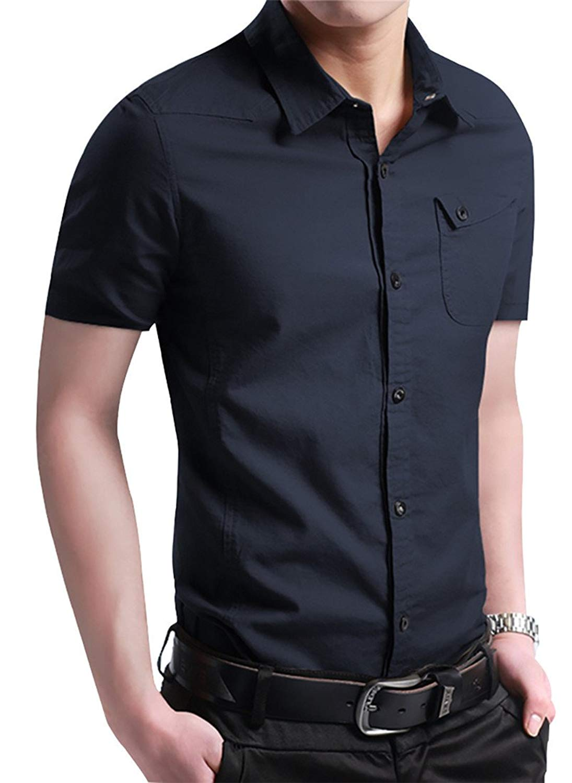 b093f6a5e4c86d Get Quotations · JHVYF Men's Short Sleeve Print Dress Shirts Solid Slim Fit  Summer Casual Button Down Shirt