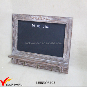 Antique Brown Chalk Writing Wooden Blackboard Shelf