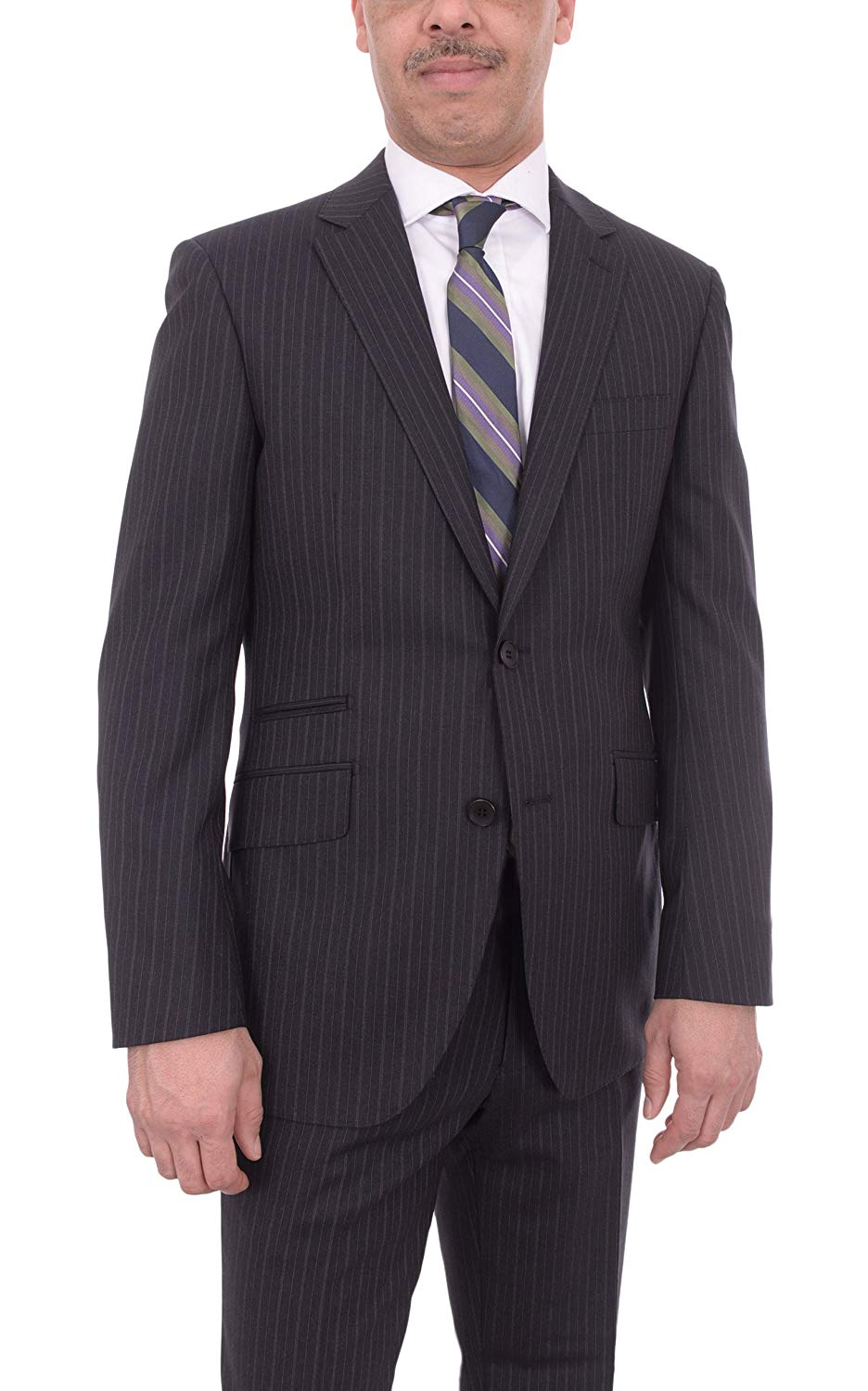 526a12f8542cdf Get Quotations · The Suit Depot Mens NAPOLI Extra Slim Fit Gray Striped  Half Canvassed Wool Suit Ticket Pocket