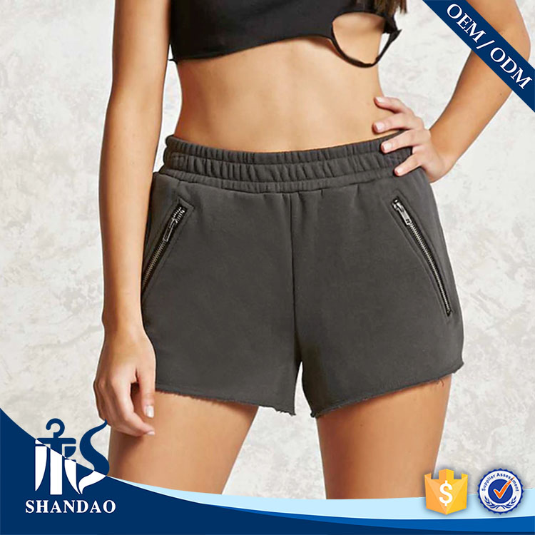 Guangzhou Shandao Women Stylish New Model OEM Wholesale Zippered Pockets Raw Cut Hem fleece shorts