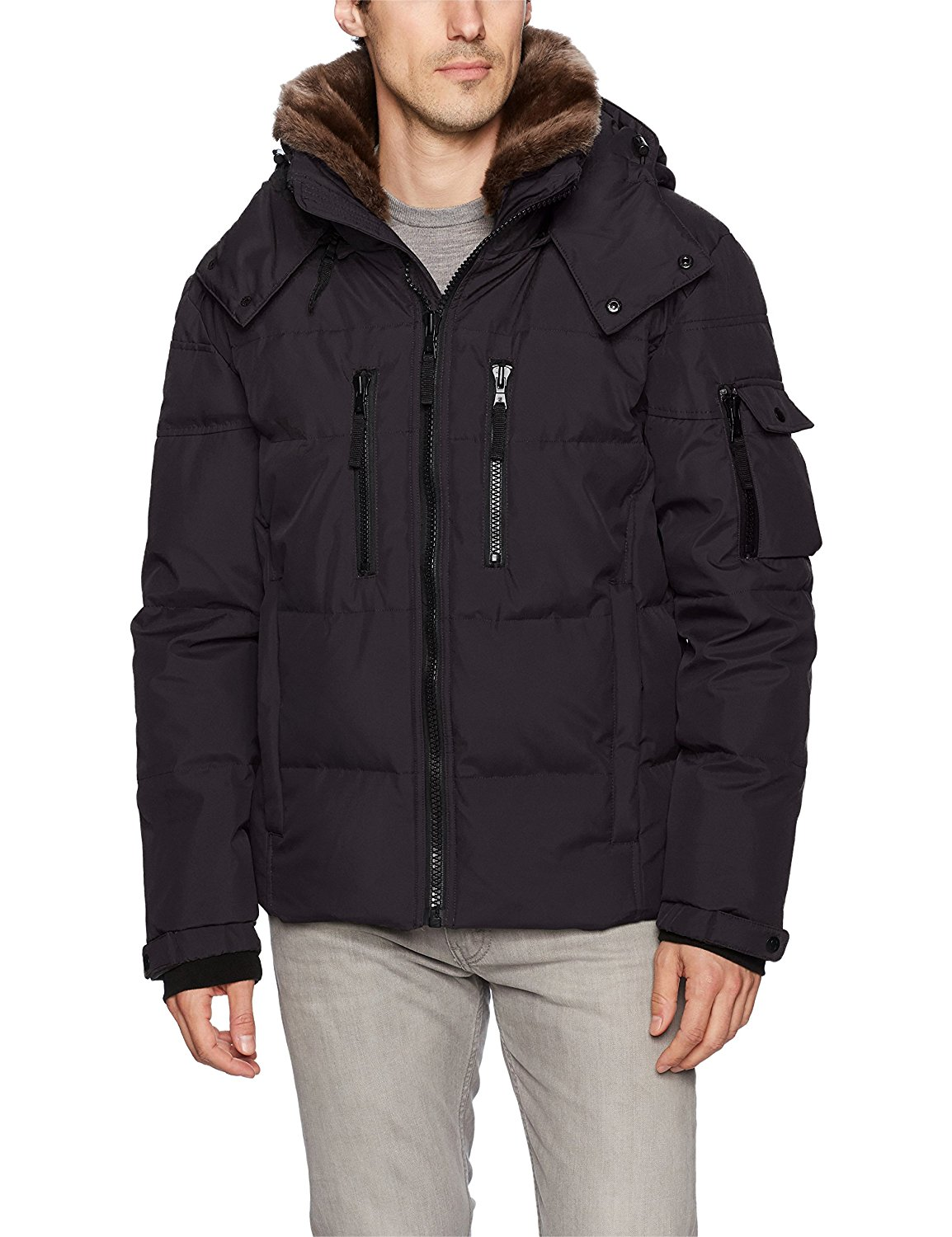 Generic Mens Puffer Coats Fur Hooded Padded Quilted Warm Down Jacket