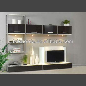 Modern design living room furniture lcd tv wall units for Latest lcd wall unit designs
