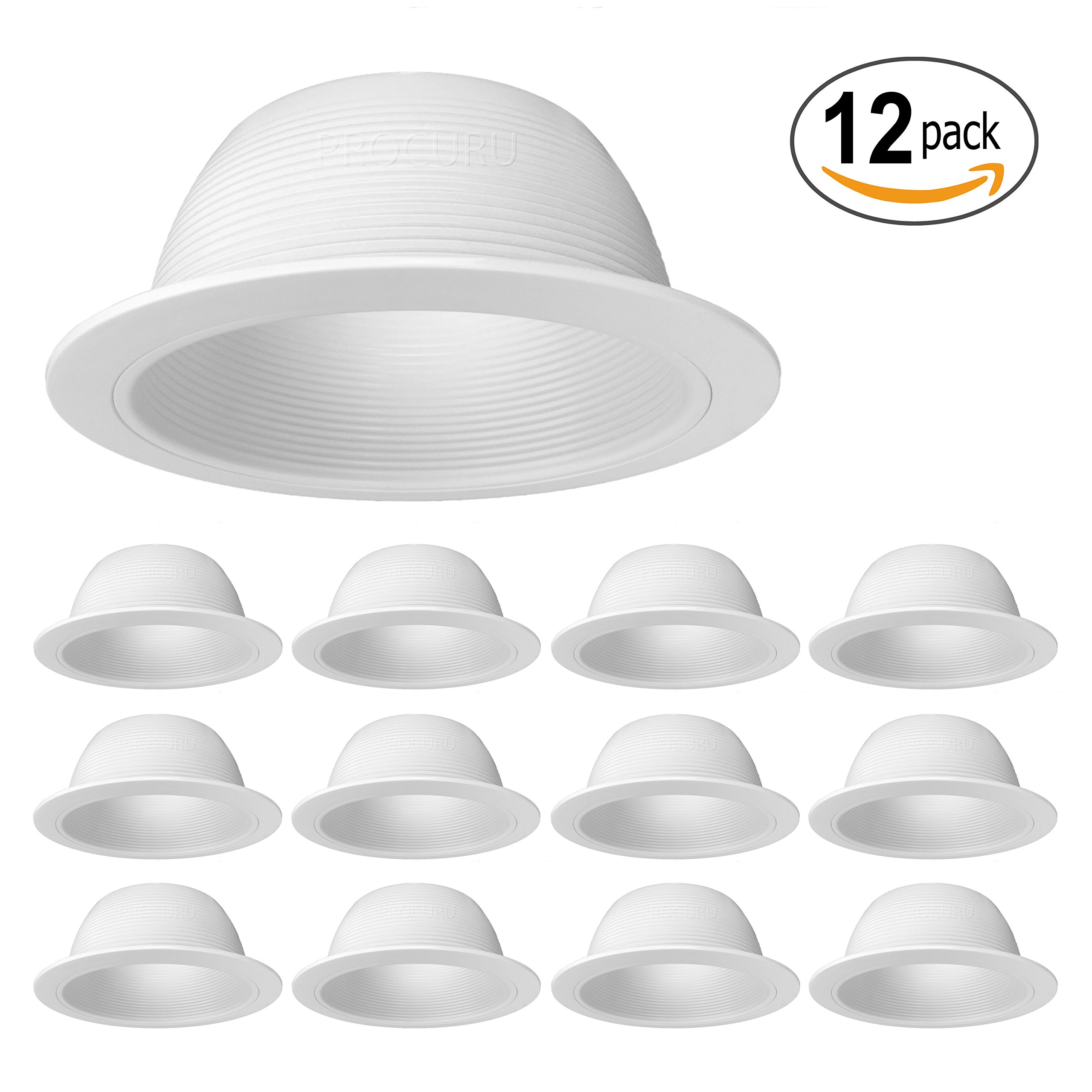 "[12-Pack] PROCURU 6"" White Baffle Metal Recessed Can Light Trim - for BR30/38/40, PAR30/38/40 LED, Incandescent, CFL, Halogen (White (12-Pack))"