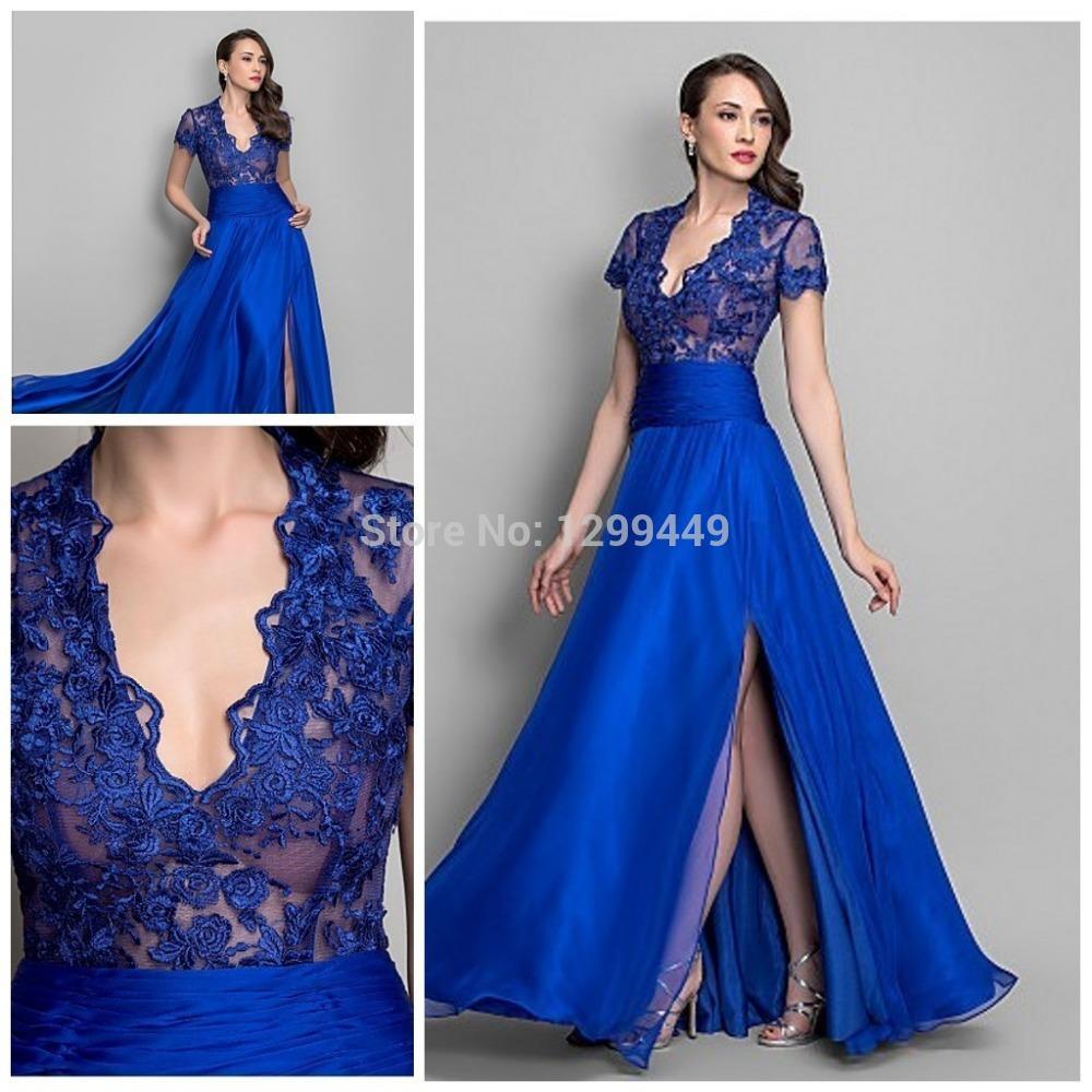 5622f0f89a7b Turmec » blue long sleeve v neck evening dress