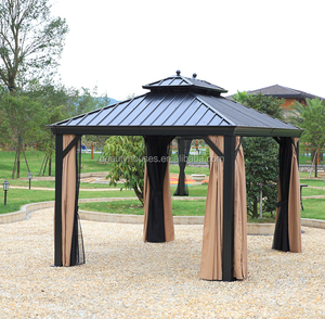 Top quality luxury steel top outdoor gazebo with sidewall