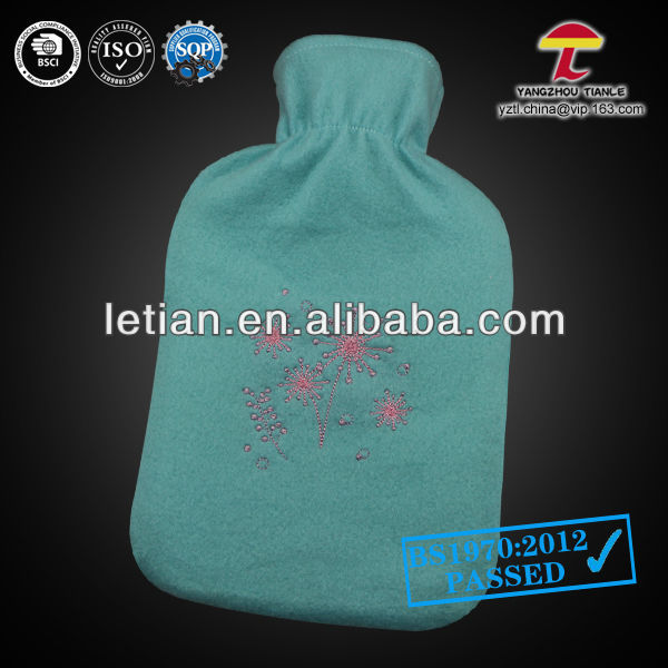 good quality cheap hot water bag cover blue embroided fireworks
