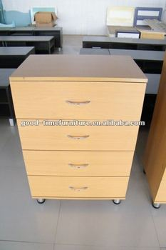 Wooden Drawer Cabinet With Metal Handle