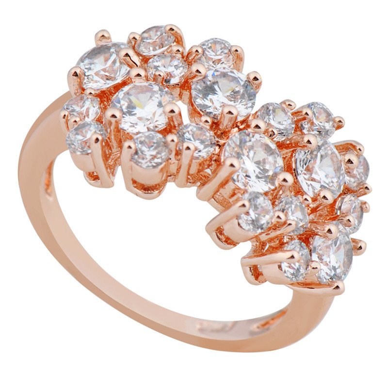 10ps/lot Size 6/7/8/9/10 Women Flower Finger Rings 10KT Rose Gold Filled Zircon Stone Finger Ring Zircon Stone Fashion RY0249