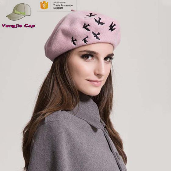5f2890131abdd Ladies Classic Berets Embroidered Fashion Women Beret Cap Wool Blend Beret  Beanie Winter Hat