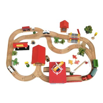 FQ brand family education kid train track scene children intelligence baby block set toy educational wooden train