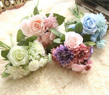 Vivid Silk Roses Flower Wedding Bouquet Dahlias Artificial Flowers