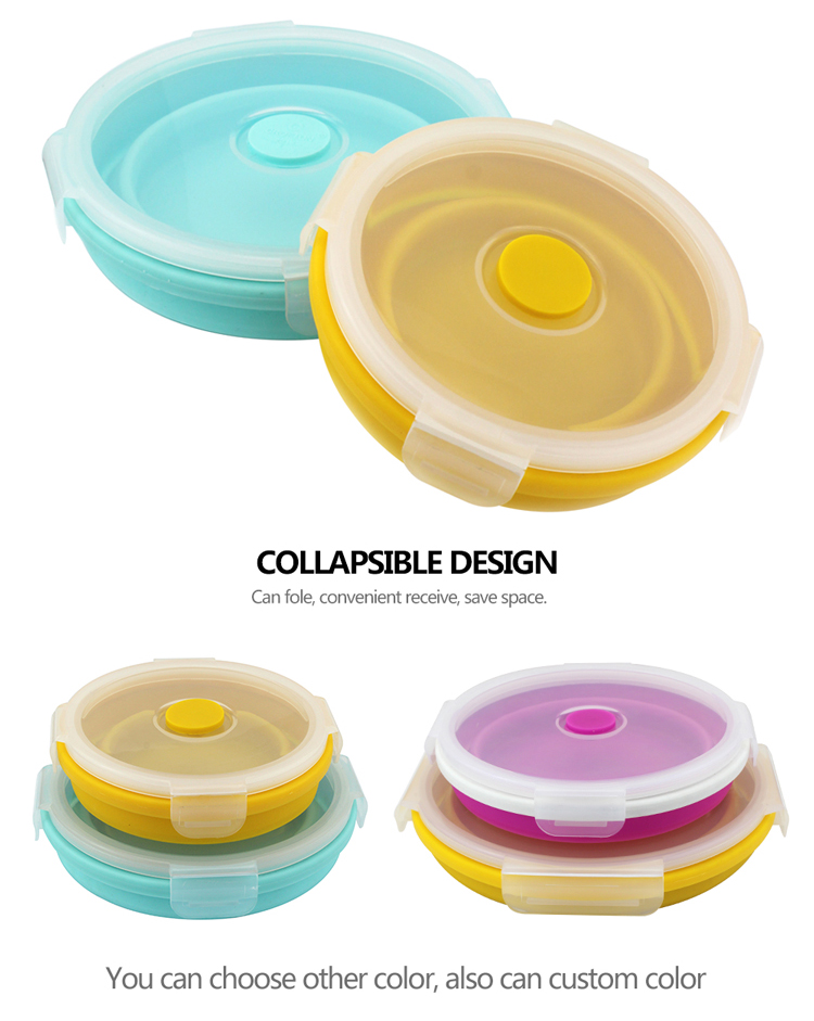 Microwave Oven Safe Food Storage Lunch Box Collapsible lunch containers of silicone kitchen works