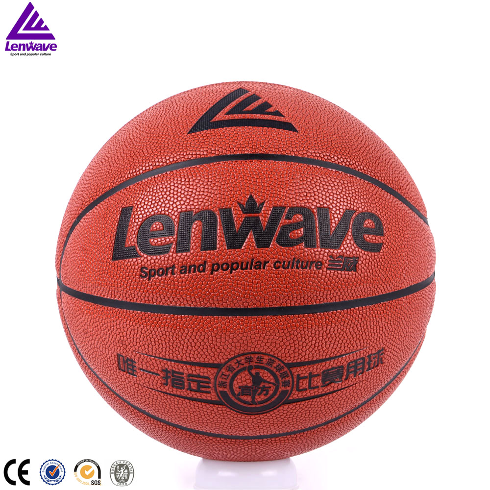 Lenwave branded college match basketball games High quality printed pu leather customize your own basketball