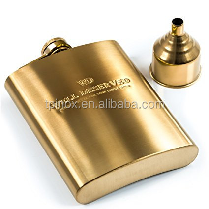TPINOX 8oz Gold Hip Flask Gift Set: Engraved WELL DESERVED. Pocket Flask for Liquor + Funnel in a Classy Black Satin Packaging.