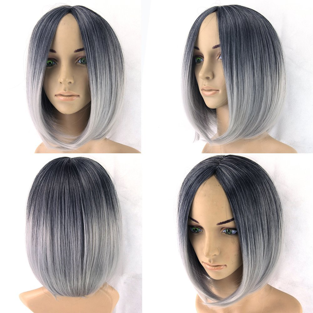 Short Black To Gray White Ombre Wigs Women Hair Cosplay