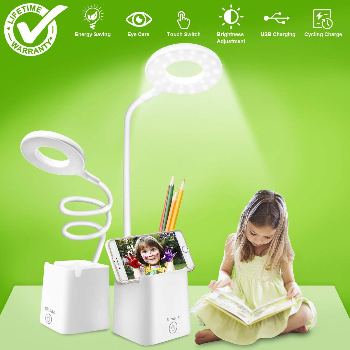 led Desk Lamp, Table Lamps with Shelves Holder USB Charging Port, Touch Control Dimmable White Study Reading Book Lamp Eye-caring Light Night, Flexible Gooseneck Office Task lamp for Bedroom Bedside