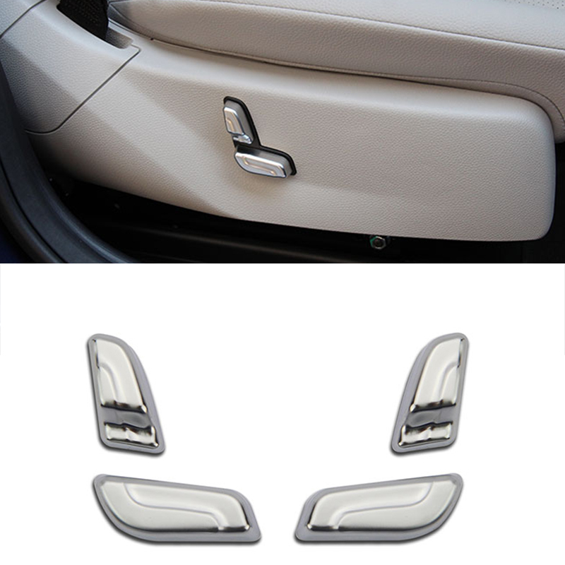 4pcs Chrome Seat Button Cover Trim Decoration For Mercedes Benz C Class W204 C180 2008-2013 Accessory